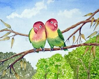 Love birds painting, Original watercolor painting, love birds art, love birds, bird art, parrot print, lovebirds, animal art, bird wall art,
