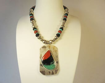 Designer Sonora Sunrise, sterling silver pendant  strung onto beaded necklace