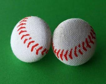 Jayden's Baseball Button Push-Pin/Earrings