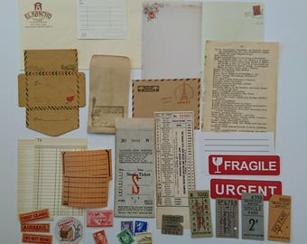 31 pcs - Ephemera pack, snail mail, ephemera, stickers, label, pen pal, paper