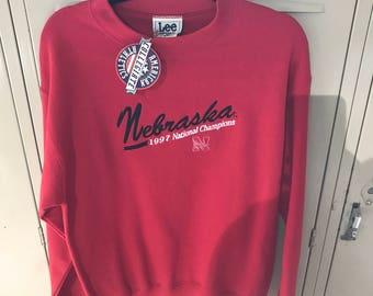 Vintage 1990s University of Nebraska Cornhuskers National Champions Sweatshirt - NYT - Deadstock