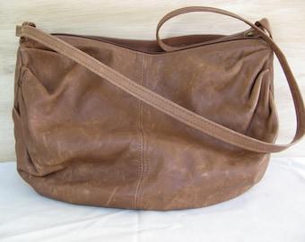 Brown Distressed Leather Shoulder Bag with Single Strap / Boho Bag