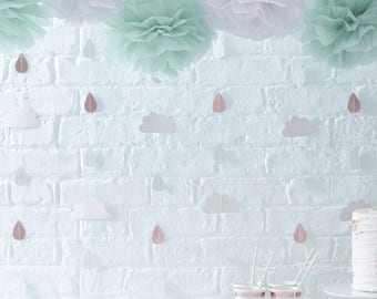 Clouds & Rose Gold Rain Drop Backdrop, Baby Shower Back Drop, Hello World Decor, Rose Gold and White Party Backdrop, Baby Shower Decorations