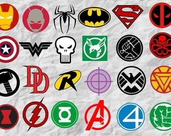24 SuperHeroes ClipArts | SuperHeroes SVG cut files | SuperHeroes Bunlde  | digital file | vectors | instant download | printable