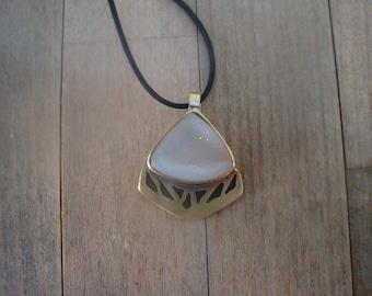White druzy quartz bonze necklace drusy rock crystal pendant carved handcrafted necklace