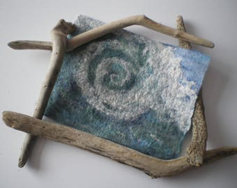 Rolling wave seascape wet felted picture, wall art