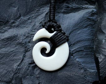 Maori amulet Koru - Bone - Brosnan Koru - Hand Carved Bone Pendant - Spiral Pendant - Macrame Necklace