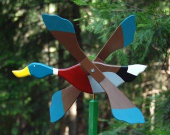 Whirligig, all wooden whirligig, yard ornament, garden decoration, duck whirligig, hand painted, artist handmade by DJ & Rudolf Lanzendorfer