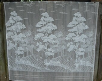 White, Rural Landscape Scene, Lace Shower Curtain, Shabby Chic
