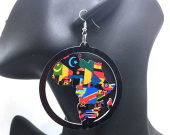 All Around the World (Black): African jewelry,Africa,African flags,African maps,Large earrings,Afrocentric,Natural,Naturalista,Accessories