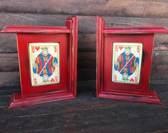 Pair King of Hearts Bookends