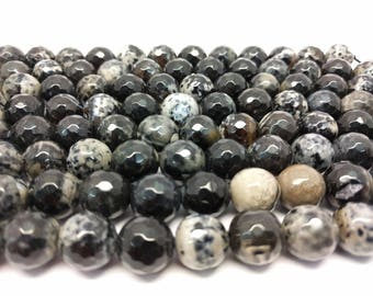 Faceted Agate Beads 12 mm Black & White Agate Beads Black Agate 12 mm Faceted Beads Big Beads Agate Gemstone Faceted Agate Stone for Jewelry