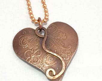 Copper Heart Necklace, One of a Kind 7th Anniversary Present, Romantic Heart Pendant, Etched Copper Pendant, Perfect gift for her