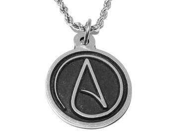 Black Pewter Atheist Symbol Pendant Necklace with Chain