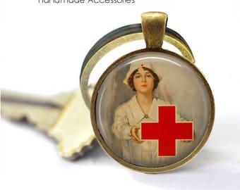 Vintage Nurse Key Ring • Red Cross Nurse • Retro Nurse • Student Nurse • Graduation • Gift Under 20 • Made in Australia (K469)