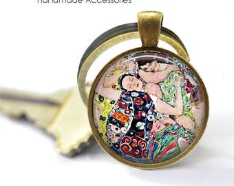 GUSTAV KLIMT Key Ring • Klimt Ladies • Klimt Art • Vintage Klimt Art • Klimt Print Jewellery • Gift Under 20 • Made in Australia (K543)