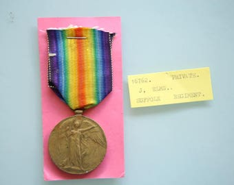 WWI Victory Medal awarded with Ribbon to Private J Elms Suffolk Regiment Militaria