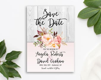 Printable Invitation Wedding Rustic Bohemian Save the Date Floral Wedding Romantic Peach Watercolor Peonies Save the Date Invite WS-004
