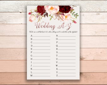 Wedding A-Z Bridal Shower Printable Game Burgundy Marsala Wedding Card Instant Download - BG003
