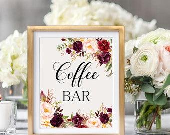 Coffee bar Wedding Sign Digital Floral Marsala Burgundy Peonies Wedding Boho Printable Bridal Decor Gifts Poster Sign 5x7 and 8x10 - WS-024