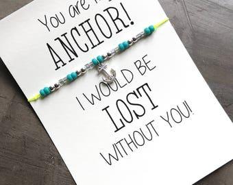 Couples bracelet, Anchor bracelet, Friendship bracelet, Best friend bracelet, Seed bead bracelet, Beaded bracelet, Lost without you, A84