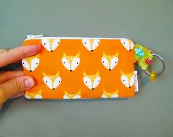 Cute Fox -Coin Purse - Zipper Coin Pouch - Cute Coin Purse - Change Wallet - Zipper Bag - Card Wallet- Birth control case- Gift Idea-