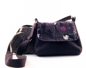 Nightmare before Christmas - Jack Skellington - Handmade small messenger bag- Ladies purse- Childs purse- Gift for her- Mom-