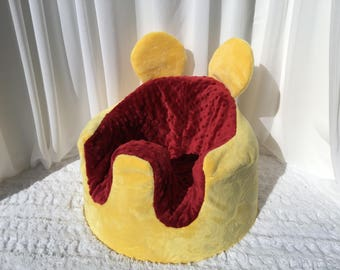 Winnie the Poo Inspired Bumbo Cover. Red and Yellow Minky