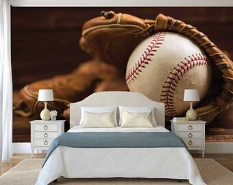 Wallpaper etsy for Baseball mural wallpaper
