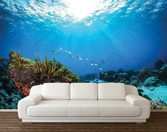 Underwater Wall Decal, Romantic Wallpaper, Ocean Wallpaper, Wall Mural Corals, Peel And Stick Wallpaper