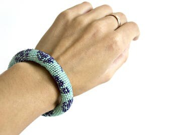 Bead Crochet Bracelet, Seed Bead Bracelet, Beadwork Jewelry, for Women, Elegant Bracelet , Turquoise, dark blue,  Handmade Bracelet, Gift