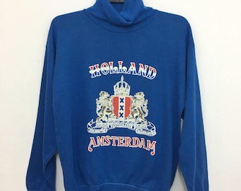 Vintage 80's 90's Holland Amsterdam Sweatshirt Turtleneck Jumper Medium Size