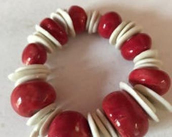 Wood and Porcelain Bracelet