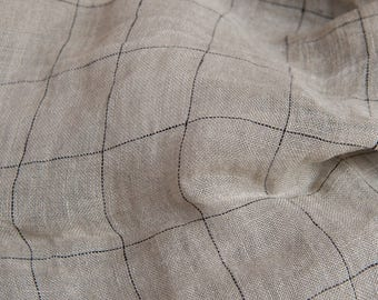 Grey transparent pre-washed 100% LINEN Fabric - European - SOFTENED - Checked pure flax textile - for scarves