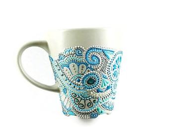 Personalized Hand Painted Coffee Ceramic Mug, Gray Pottery Tea Cup, Handmade Ceramic Coffee Mug, Pottery Blue Turquoise Tea Mug for gift