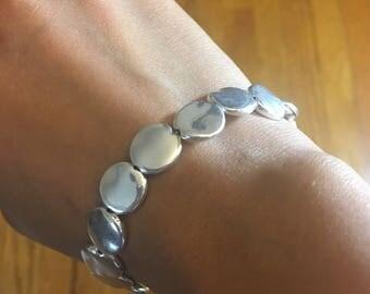 Silver Plated Flat Bead Bracelet