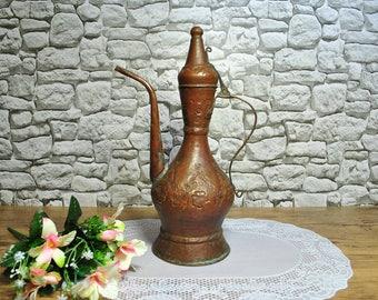 Antique Water jug Pot oriental Arabic Islamic Middle East copper pitcher