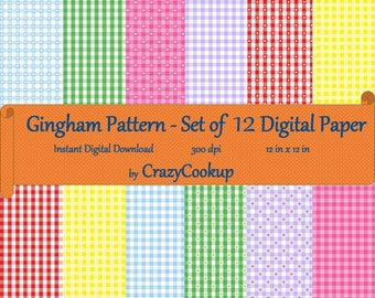 Gingham Pattern - Set of 12 Digital Paper