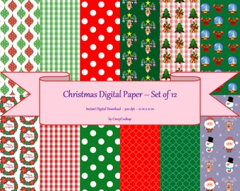 Christmas Digital Paper - Set of 12