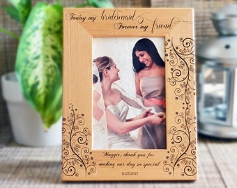 Bridesmaid Picture Frame, Personalized Picture Frame, wedding Photo Frame, Custom Photo Frame, Wedding Gifts, Custom Frame , frame 113