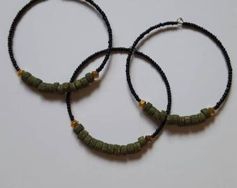 Green, gold, and black Memory Wire Bracelet