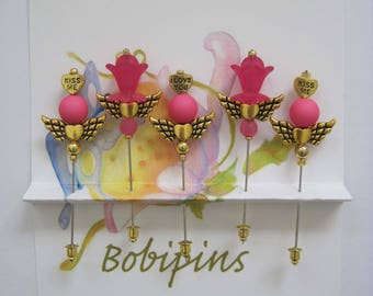 Kiss Me Pink Winged Flower Decorative Pins, Friendship Pins for Sharing, Quilting, Sewing, Scrap Booking, etc