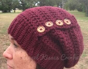 Crochet women slouch hat, slouchy hat wooden buttons, slouch beanie, fall, winter