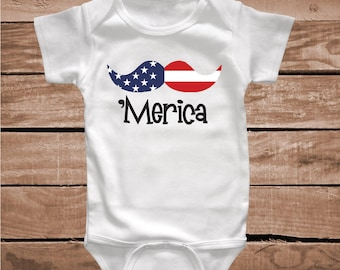 Merica Mustache Onesies Tees Shirts Merica 4th of July Onesies Clever Shirts Merica American Flag Mustache Funny Shirts Unique T-Shirt, bb81