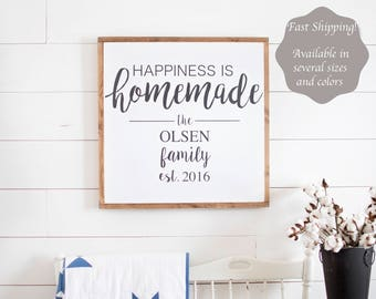 Happiness is Homemade Sign | Happiness is Homemade | Living Room Wall Decor | Happiness is Homemade Wood Sign | Framed Sign
