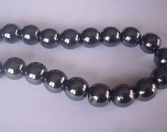 10 beads Hematite 10 mm (round) - Hematite Beads 10 mm