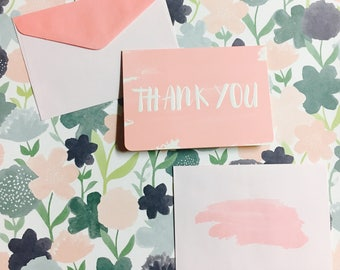 Chic Thank You Blush Pink 8 Notecard and Envelopes