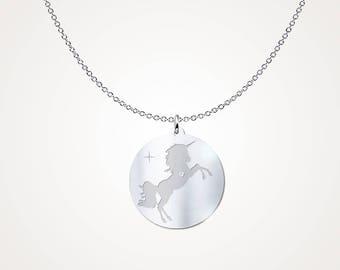 Silver Unicorn Pendant Necklace