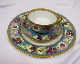 Antique Haviland Porcelain Cup & Saucer Very Rare Pansy Gold Trim Limoges Chas Mayer Co