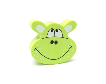 Lime green Hippo head wooden bead